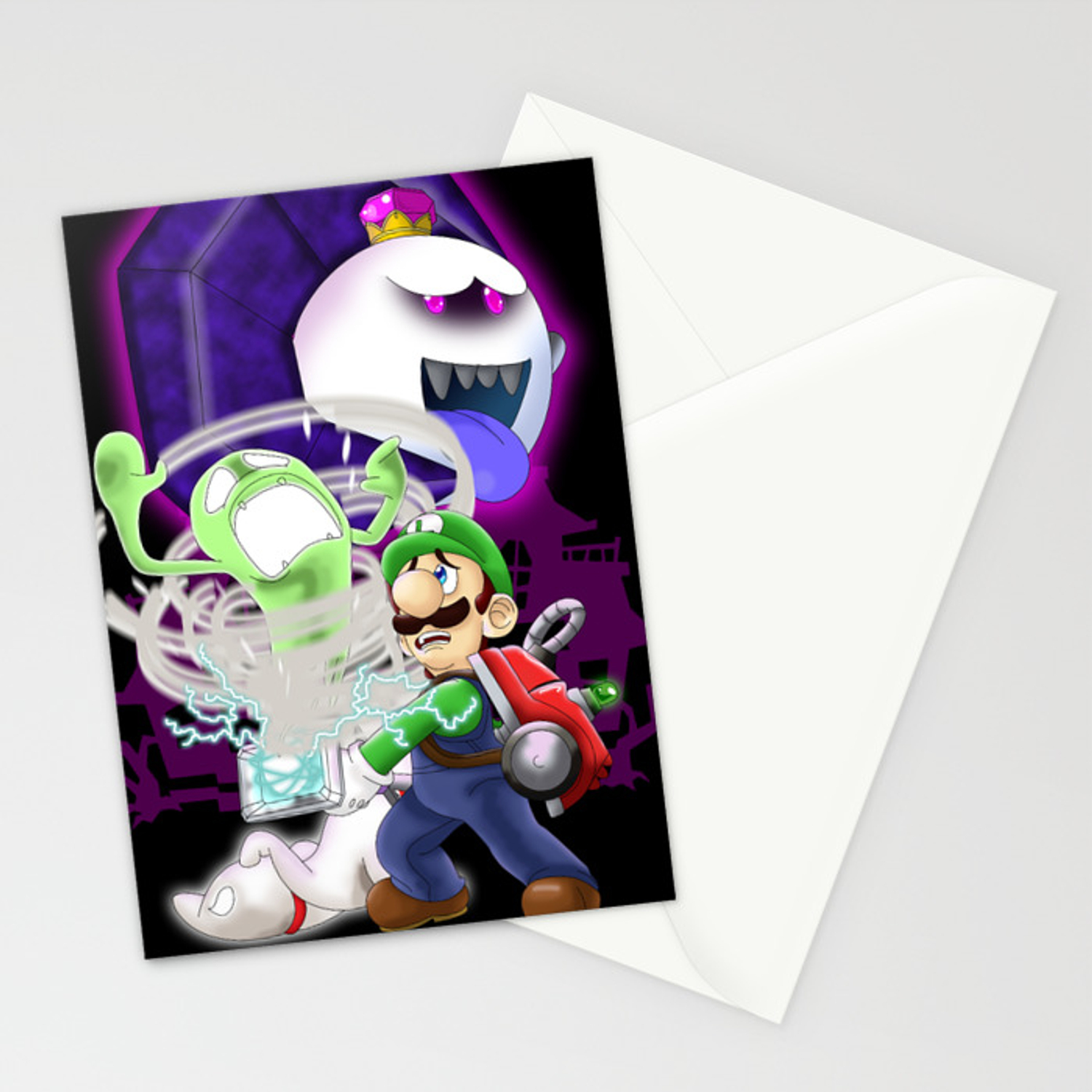 Luigi S Mansion Dark Moon Stationery Cards By Kurewkreations