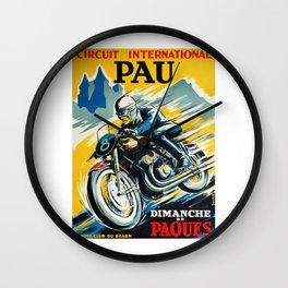 Grand Prix Pau, vintage poster, Motorcycle poster, race poster, Motorcycle poster Wall Clock