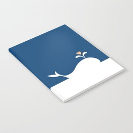 Whale in Blue Ocean with a Love Heart Notebook