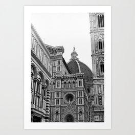 Duomo Florence black and white film photograph Art Print