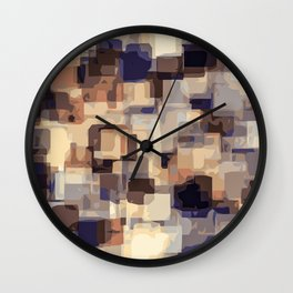 blue and brown square pattern abstract background Wall Clock