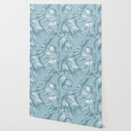 Island Dream Teal Palm Leaves Wallpaper