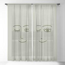 Wink (Green) Sheer Curtain