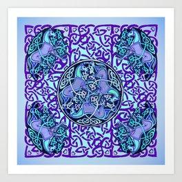 7 Blue Celtic Horses Art Print