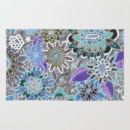 Chalkboard Flowers (Blue) Rug