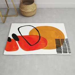 Mid Century Modern Abstract Vintage Pop Art Space Age Pattern Orange Yellow Black Orbit Accent Rug