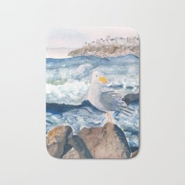 A Watercolor Seagull Named Fred (on Second Cliff in Scituate) Bath Mat