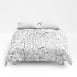 Charlotte White Map Comforters
