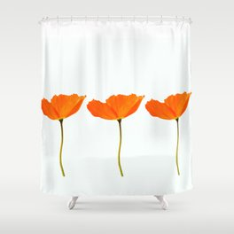 Three Orange Poppy Flowers White Background #decor #society6 #buyart Shower Curtain