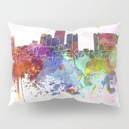 Essen skyline in watercolor background Pillow Sham