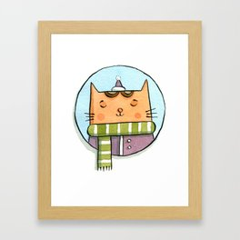 Cat and Scarf Framed Art Print