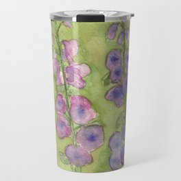 Hollyhock Foxglove Watercolor Muted Tones Travel Mug