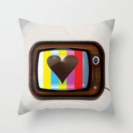 I Love TV vintage poster Throw Pillow