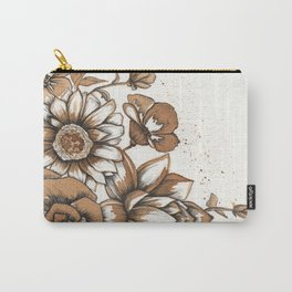 Coffee Art- Flowers Carry-All Pouch