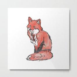 Fox Watercolour Metal Print