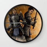 """dragon age Wall Clocks featuring Dragon Age - Grey Wardens by Barbara """"Yuhime"""" Wyrowińska"""