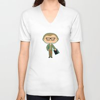 woody allen V-neck T-shirts featuring Woody Allen by Sombras Blancas Art & Design