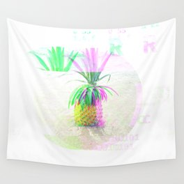 GLITCH NATURE #55: Happy Pineapple Wall Tapestry