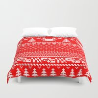 maryland Duvet Covers featuring Ugly Maryland Christmas Sweater by Ryan the Foe