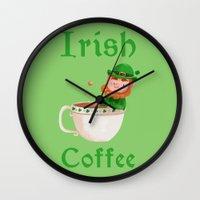 irish Wall Clocks featuring Irish Coffee by Supergna