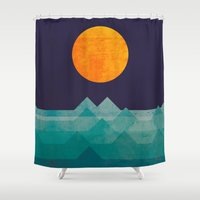rustic Shower Curtains featuring The ocean, the sea, the wave - night scene by Picomodi