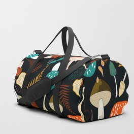 Mushrooms and leaves in autumn Duffle Bag
