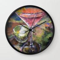 martini Wall Clocks featuring Martini by Michael Creese