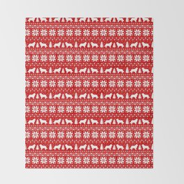 Border Collie Silhouettes Christmas Sweater Pattern Throw Blanket
