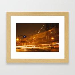 Downtown Brooklyn at Night Framed Art Print