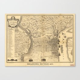 Map of Philadelphia 100 Years Ago (published 1875) Canvas Print