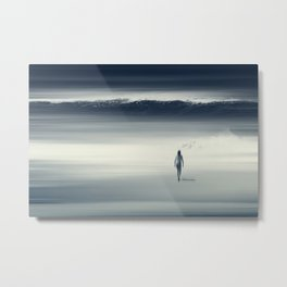 She Saw It Coming - Woman Standing In The Surf Metal Print