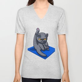 Yoga cat - Angry cat - grey cat - fat cat Unisex V-Neck