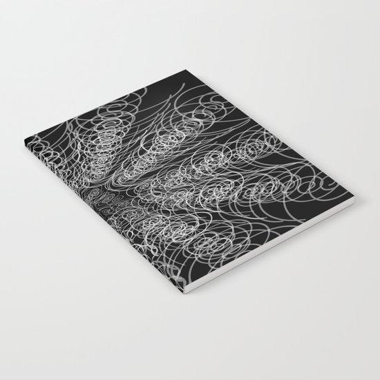 White Swirl Fractal on Black Notebook