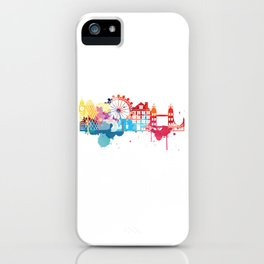 London Fun Cityscape Watercolor iPhone Case