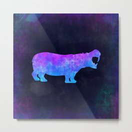 HIPPO IN SPACE // Animal Graphic Art // Watercolor Canvas Painting // Modern Minimal Cute Metal Print