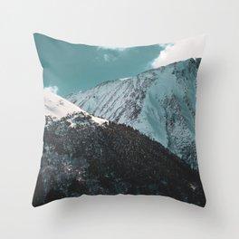 Snowy Mountains Under Teal Sky - Alaska Throw Pillow