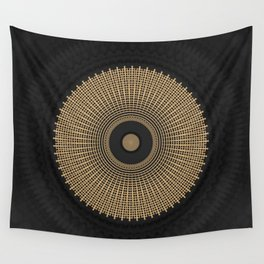 Gold Coin Mandala on Marble Wall Tapestry