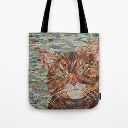 cat on aqua background Tote Bag