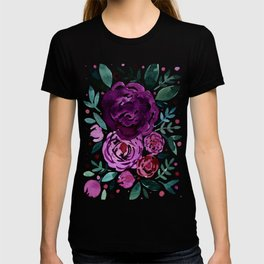 Watercolor roses bouquet - purple and green T-shirt