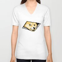 doge V-neck T-shirts featuring Ceiling Doge by Jimiyo