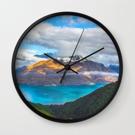 Beautiful Mountain Range Landscape Photo Blue Turquoise Waters Green Pine Trees Grey Clouds Wall Clock