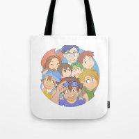 digimon Tote Bags featuring Chosen Children by wattleseeds