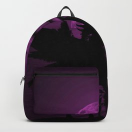 Purple Dusk with Surfergirl in Black Silhouette with Longboard Backpack