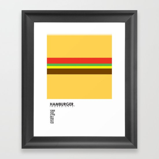 Pantone Food - Hamburger Framed Art Print