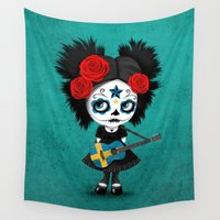 swedish Wall Tapestries featuring Day of the Dead Girl Playing Swedish Flag Guitar by Jeff Bartels