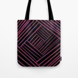 SAVANT black with bright pink and purple lines pattern Tote Bag