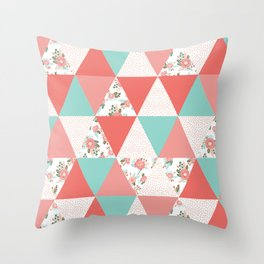 Triangle quilt pattern cute florals dots cheater quilt blanket quilter must have cute baby shower  Throw Pillow