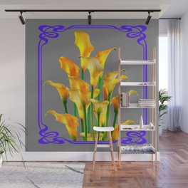 PURPLE-GREY ART NOUVEAU GOLDEN CALLA LILIES Wall Mural