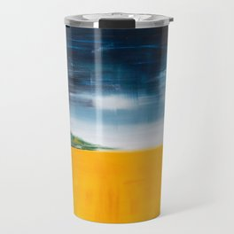 Yellow Field and Stormy Sky Semi-Abstract Landscape Travel Mug