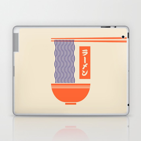 Ramen Japanese Food Noodle Bowl Chopsticks - Cream Laptop & iPad Skin